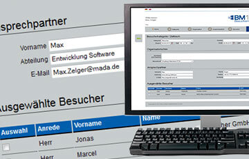 Besuchermanagement Webinterface von Mada